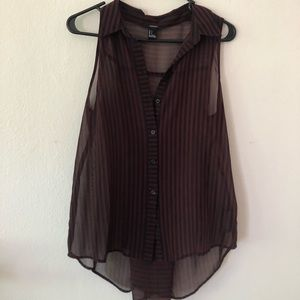 Forever 21 Long See-through Button Blouse (size S)